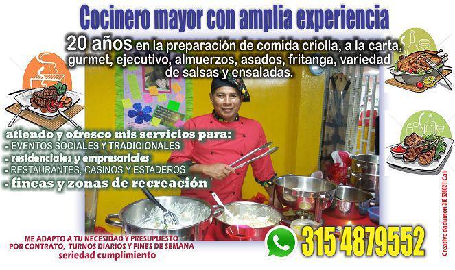 Se ofrece cocinero mayor amplia experiencia....