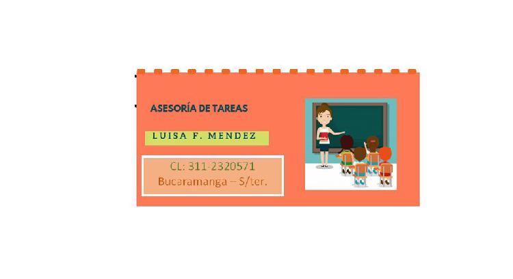 Asesorías de tareas,niñera o tutora - certificada