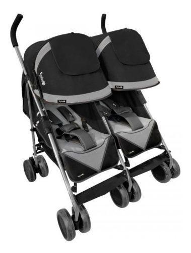 Coche paseador gemelar ebaby sombrilla reclinable compacto