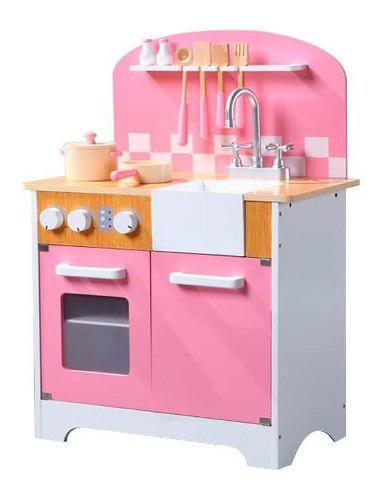 Didáctico cocina de madera rosa