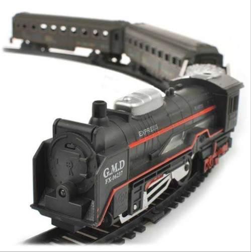 Pista tren rail king 104cm juguete locomotora con luz 19033