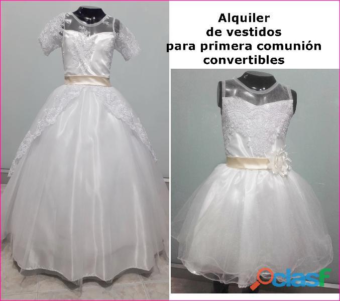 Alquiler de vestidos convertibles para primera comunión de niña en itagui