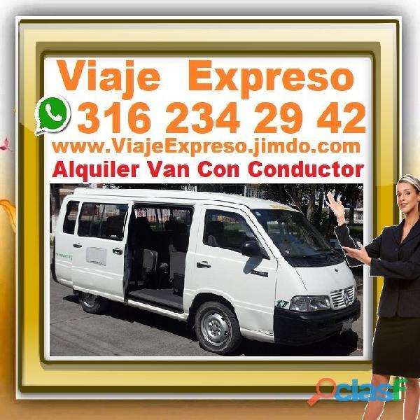 ⭐ transporte 16 pasajeros, alquiler vans, van, con conductor, desde bogota, chia, zipaquira, cajica,