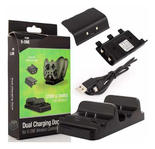 Cargador doble control xbox one + 2 baterias + cable usb