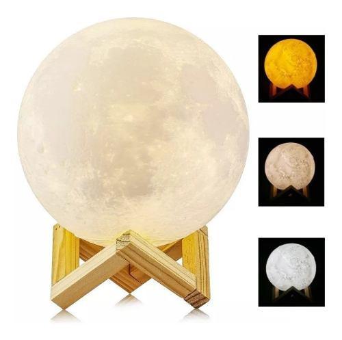 Lampara luna grande 3d recargable + base madera+control