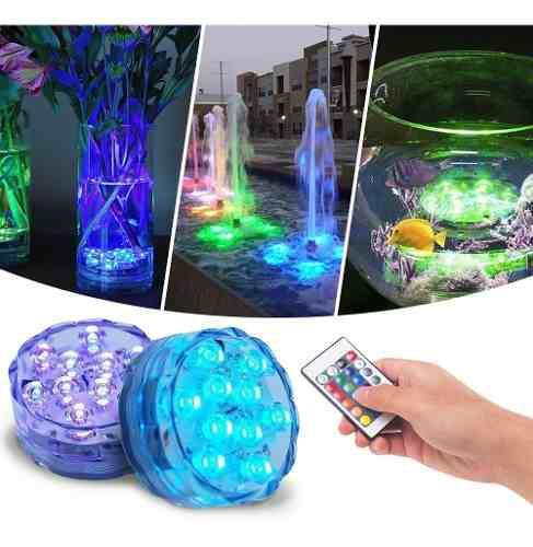 Luz led sumergibles agua piscinas control remoto rf 015