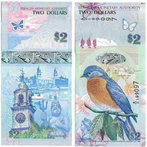 Billete islas bermuda 2 dolares 2009 papel moneda unc