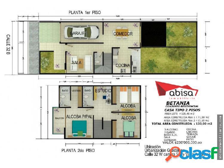 Casas 2 pisos para estrenar en betania (guadalupe)