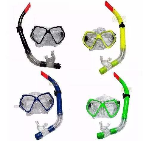 Snorkel set careta swimmer buceo silicona doble env inmediat