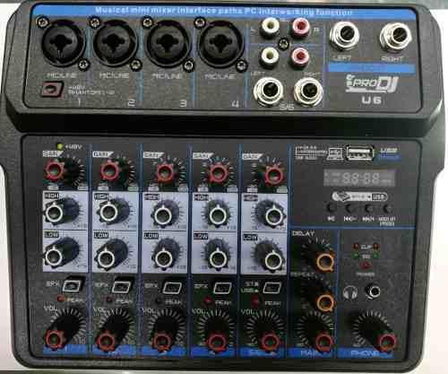 Mezclador Pro Dj U6 Mixer Hibridas Usb Bluetooth Efecto