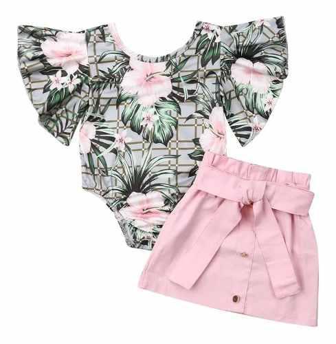 Mameluco asoleador bebé niña y falda rosada ropa de verano