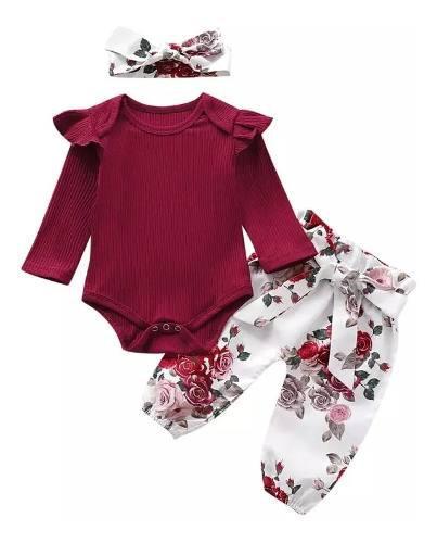 Mameluco bebé niña formal pantalon estampado flores balaca