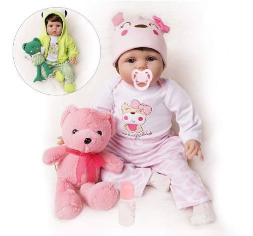 Reborn Muñeca Bebe Realista 55 Cm 2 Trajes +accesorios