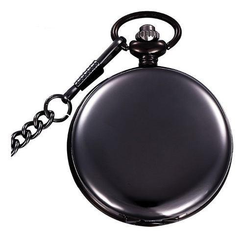 Reloj bolsillo cuarzo analogo cadena aleacion pb001 negro