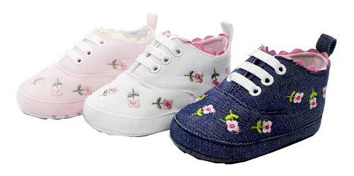 Zapato bebes tenis blandos antideslizantes bebita flores