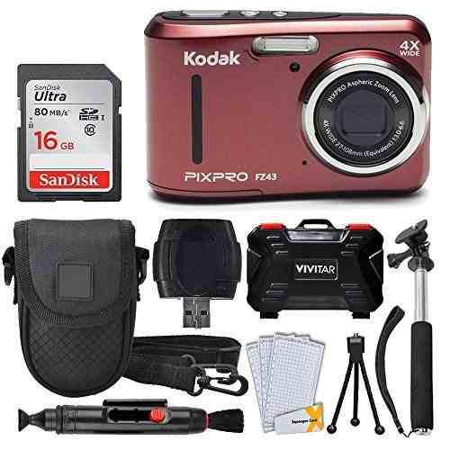 Cámara Digital Kodak Pixpro Fz43 (roja) + Tarjeta De
