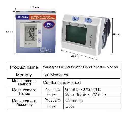 Tensiometro Digital Electronico Muñeca 120 Memorias Estuche