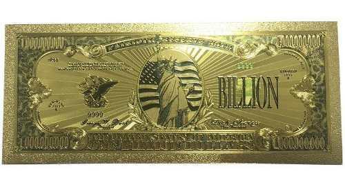 Billete dorado de 1 billon de dolares, oro gold + regalo