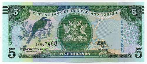 Billete trinidad y tobago 2006 5 dólares unc