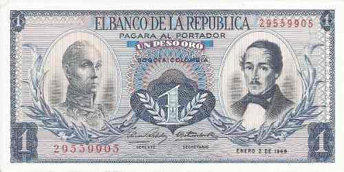 Colombia 1 peso oro 2 enero 1969