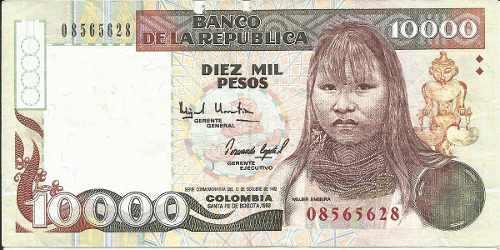 Colombia 10000 pesos 1993 mujer embera (observar)
