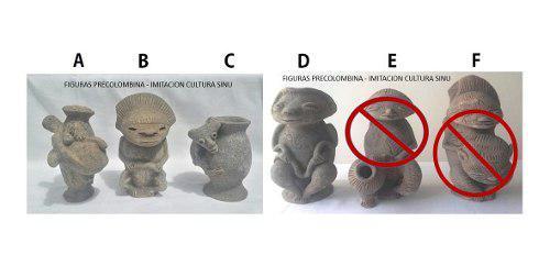 Figuras precolombinas, imitación cultura sinú.