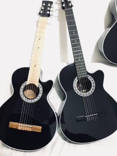 Guitarra Acústica Negra Para