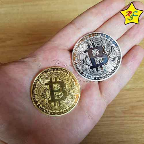Moneda bitcoin alta calidad blockhain dorado plateado lujo