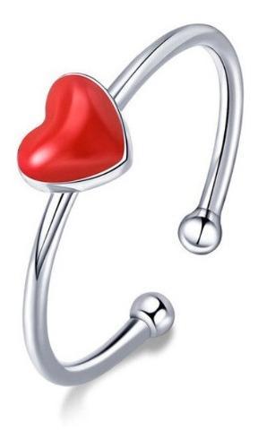 Anillo Compromiso Ajustable Mujer Corazón Rojo En Plata 925