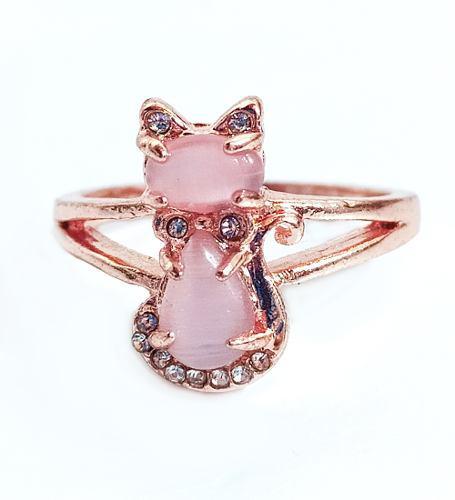 Anillo Gato Rosa Y Zirconias Gatito Cats Ring Cat Joyas Gato