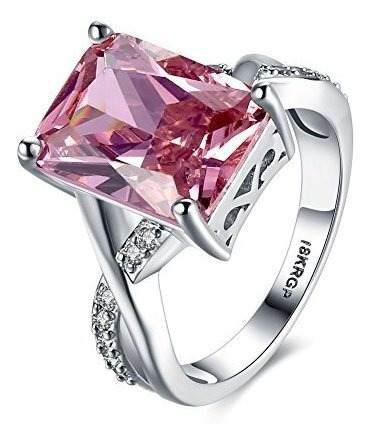 Anillos De Cristal De Swarovski Plata De Ley Para Mujer Rosa
