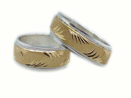 Argollas Matrimonio Plata Y Oro 18k+ Estuche+arras