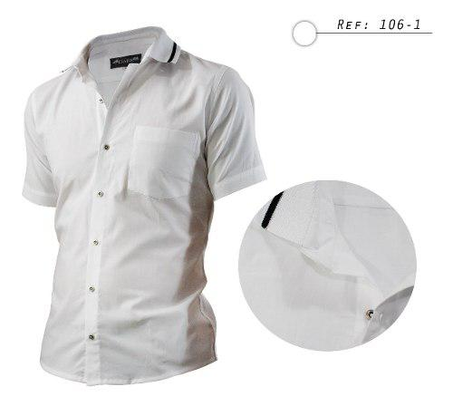 Camisa Hombre Informal,manga Corta,cuello Tejido Tipo Polo