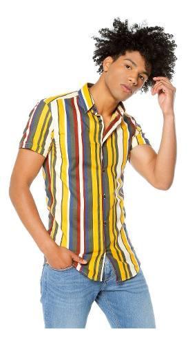 Camisa Los Caballeros Manga Corta Rayas Amarillas, Verdes