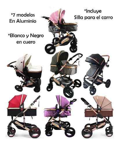 Coche moises bebe + silla de carro edicion negro blanc cuero