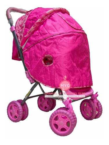 Coche niña rosado ropon + pañalera reversible plegable
