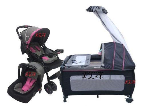 Combo corral coche porta bebé cambiador toldillo niveles