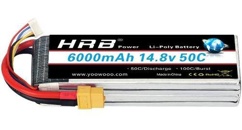 Hrb 148v 6000mah 4s Lipo Battery Pack 50c Con Conector Xt60
