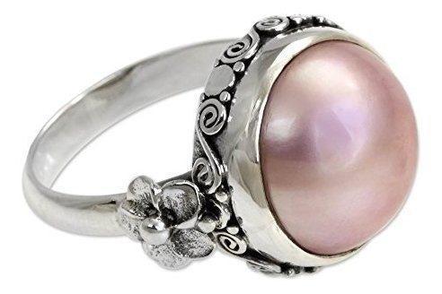 Novica Teñido Color Rosa Cultivadas Mabe Perla 925 Anillo