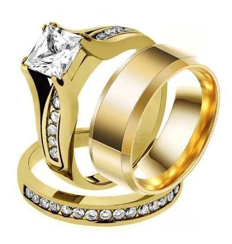 Par Argollas De Matrimonio Plata Y Baño De Oro Con Envio
