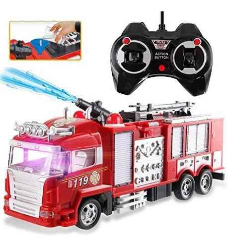 Camión carro bomberos juguete control remoto sonido luces