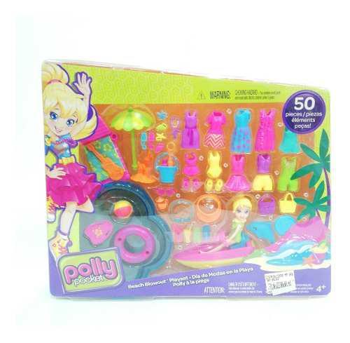 Polly pocket accesorios juguete 13cm 50pcs playa niña