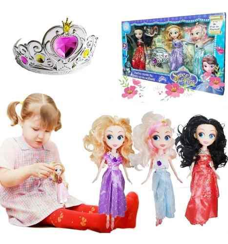Princesa sofia muñecas x3 hermosas corona para niña