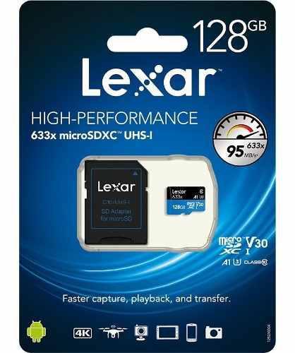 Memoria lexar micro sd xc uhs 128gb clase 10 camara go pro