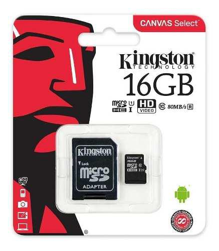 Memoria micro sd kingston 16gb clase 10 80mb sutiendaonline