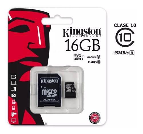 Memoria microsd 16gb original kingston clase 10 + adaptador