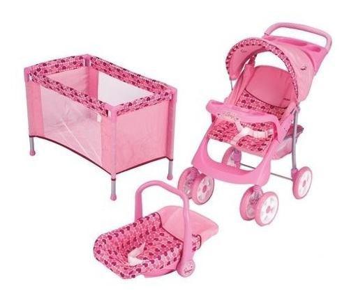 Combo cuna y coche porta bebe para muñecas doll kit bebesit