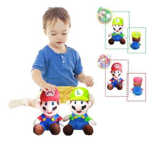 Mario bros luigi peluche figura x2 didácticos juguetes