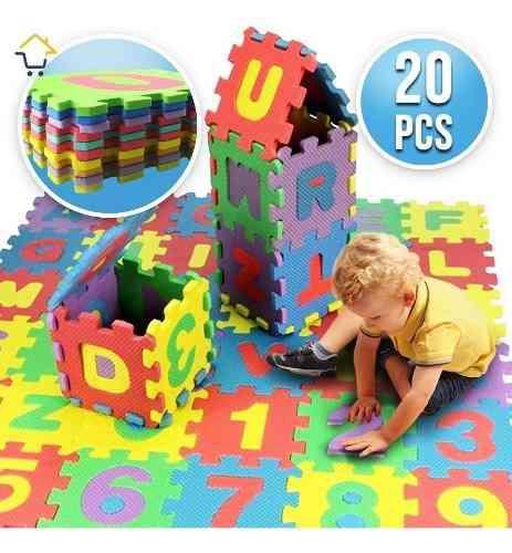 Tapete foamy x20 piezas animales y números rompecabezas