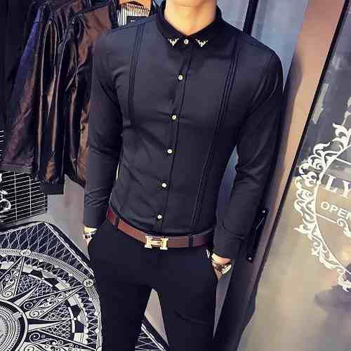Camisas hombre manga larga exclusiva + reloj elegante